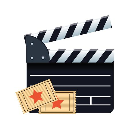 movie clapboard and cinema tickets over white background, colorful design, vector illustration Çizim