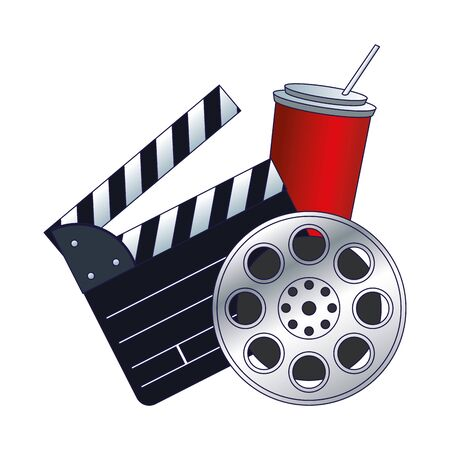 clapboard, soda and film reel icon over white background, colorful design, vector illustration Çizim