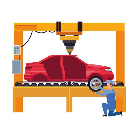 car repair design of mechanic working at machine with car body over white background, vector illustration