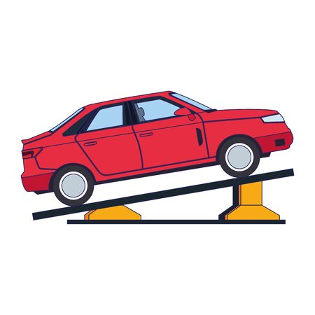 car repair design of elevated car in a lifting icon over white background, vector illustration