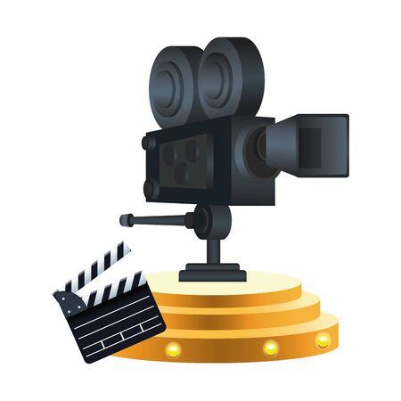 cinema camera and clapboard over white background, colorful design, vector illustration Çizim