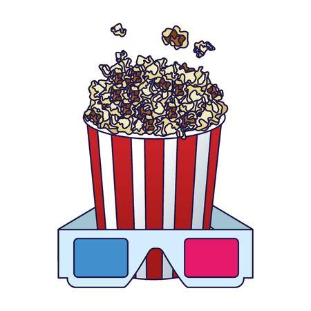 Popcornschüssel mit 3D-Brille auf weißem Hintergrund, farbenfrohes Design, Vektorillustration Vektorgrafik