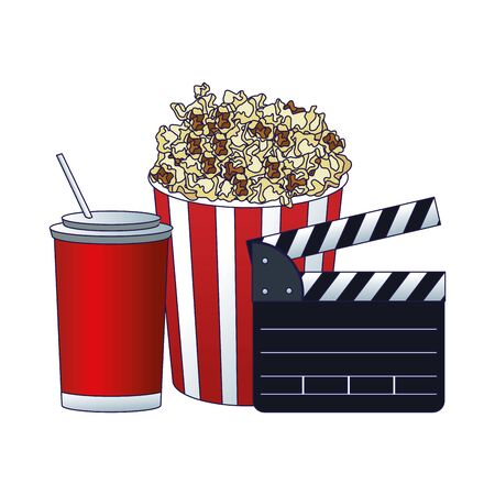 popcorn bucket with clapboard and soda cup over white background, colorful design, vector illustration