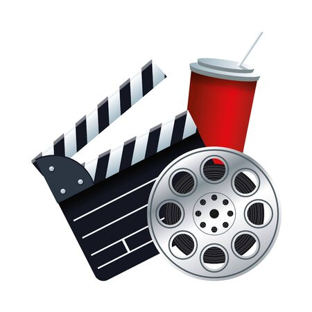 clapboard, soda and film reel icon over white background, vector illustration Vektoros illusztráció