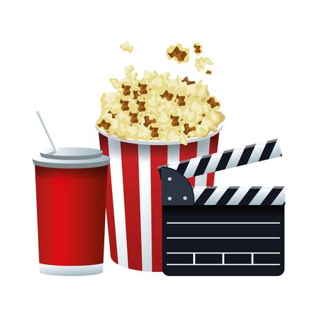 popcorn bucket with clapboard and soda cup over white background, vector illustration