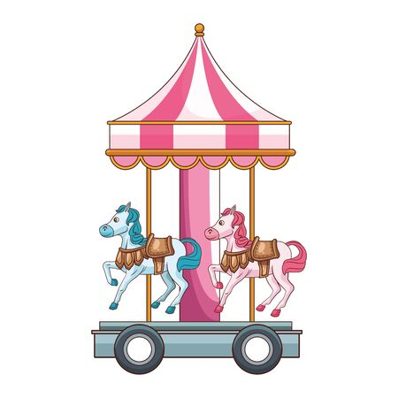 carnival horses carousel icon over white background, vector illustration