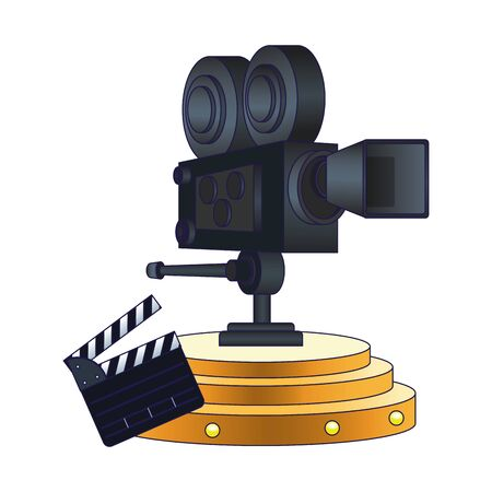 cinema camera and clapboard over white background, vector illustration