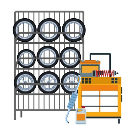 rack with car tires and tools trolley over white background, flat design, vector illustration Vectores