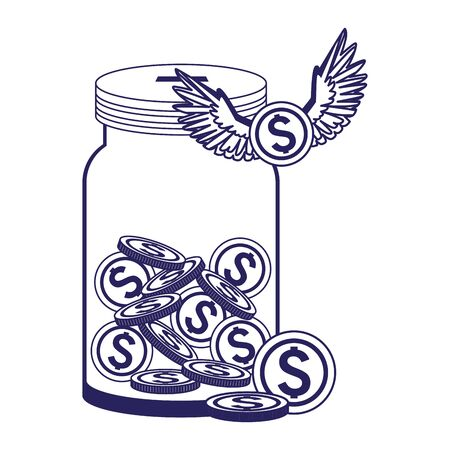bottle with money coins and coin with wings with over white background, vector illustration