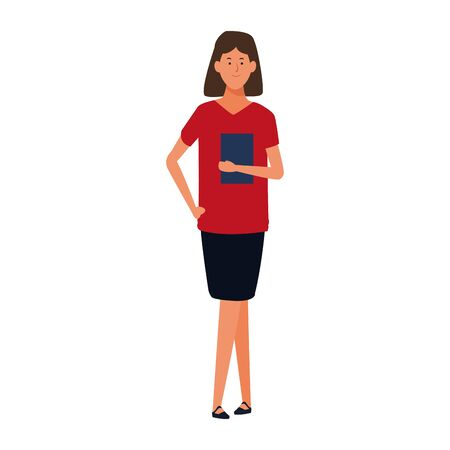 cartoon businesswoman standing and holding a documents folder icon over white background, colorful design. vector illustration