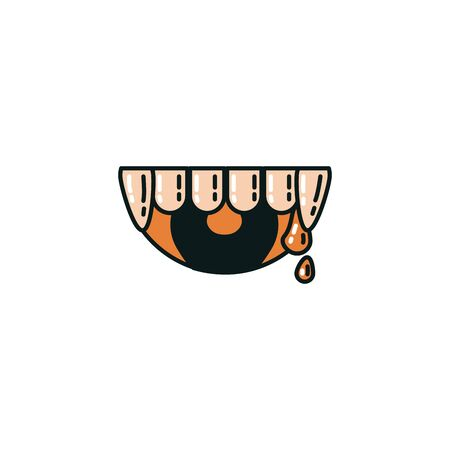deacula mouth halloween flat style icon vector illustration design