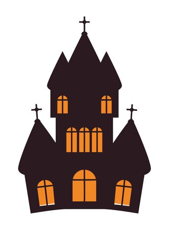 halloween dark castle building icon vector illustration design Иллюстрация