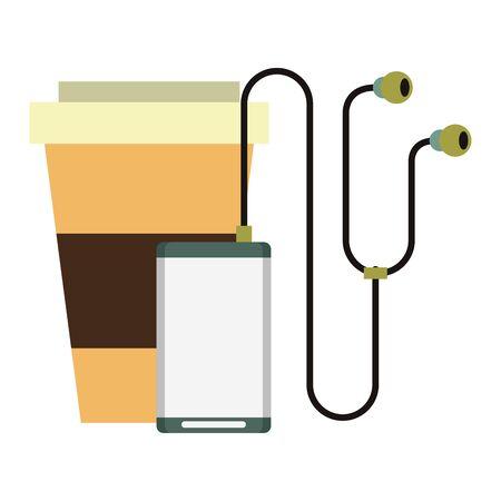 lecteur de musique et tasse à café et symboles hipsters isolés Vector design illustration