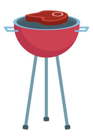 delicious meat steak in oven grill vector illustration design