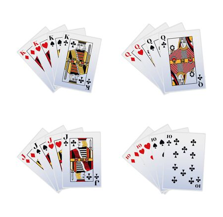 some winnings combinations of playing cards icon set over white background, vector illustration