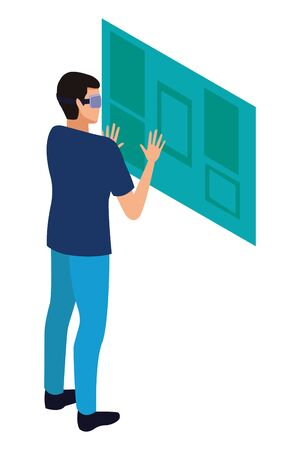 virtual reality technology, young man living a modern digital experience with headset glassesin front screen cartoon vector illustration graphic design