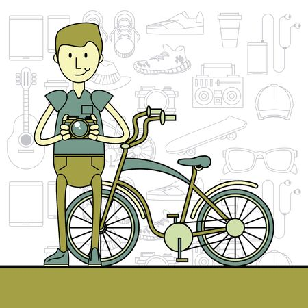 Cool hipster guy with fashion accesories and elements cartoon pastel colors vector illustration graphic design