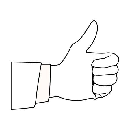 thumb up icon cartoon isolated black and white vector illustration graphic design Ilustração