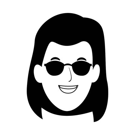 cool woman with sunglasses icon over white background, vector illustration