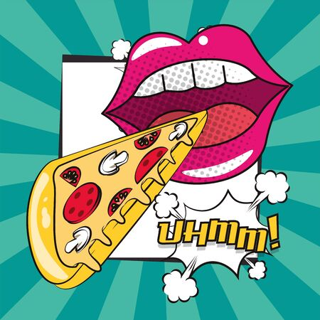 poster pop art style with female mouth eating pizza vector illustration design Ilustracja