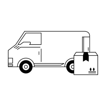 Delivery van vehicle with cardboard box vector illustration graphic design