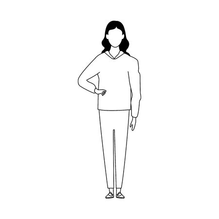 avatar woman standing icon over white background, flat design. vector illustration