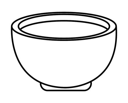 Soup in bowl asian food cartoon, vector illustration graphic design. Çizim