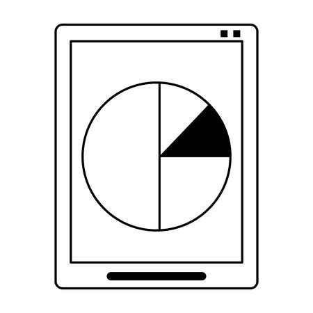 Tablet with statistics pie graph isolated symbol vector illustration graphic design