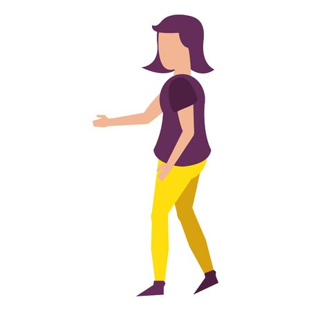young woman body without face wearing purple blouse cartoon vector illustration graphic design Standard-Bild - 139188982