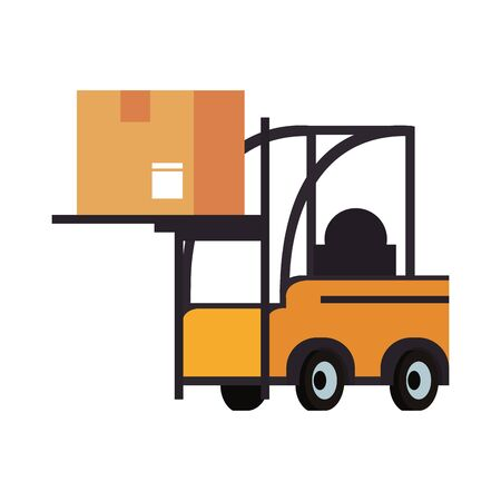 Forklift with delivery box isolated symbol vector illustration Vettoriali