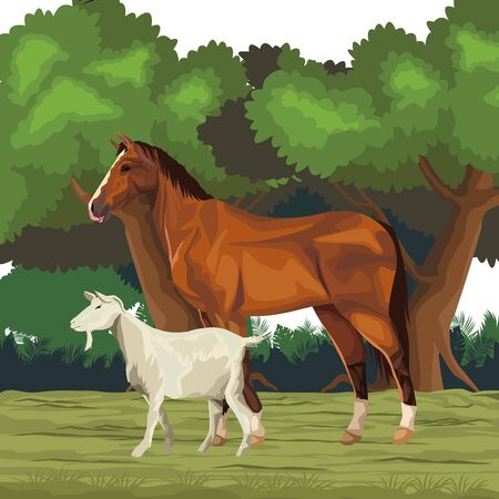 horse and goat icon cartoon wild landscape vector illustration graphic design  イラスト・ベクター素材