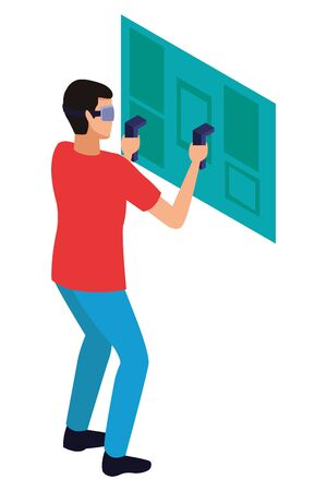 virtual reality technology, young man living a modern digital experience with headset glassesand joysticks cartoon vector illustration graphic design