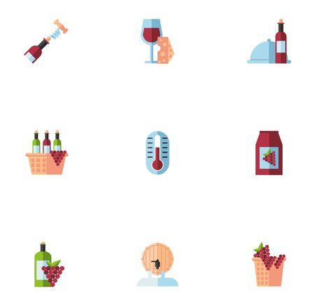 bundle of wine drink set icons vector illustration design Ilustrace