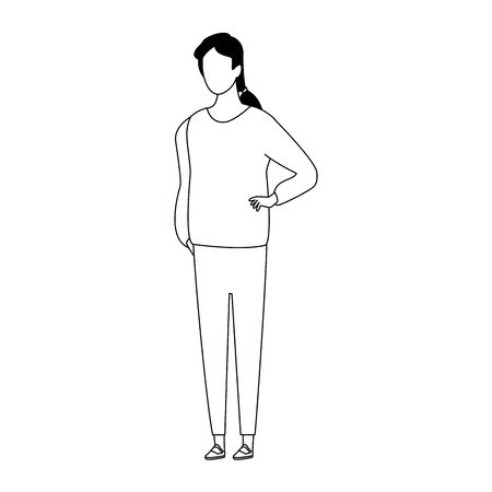 avatar woman icon over white background, flat design. vector illustration Ilustração
