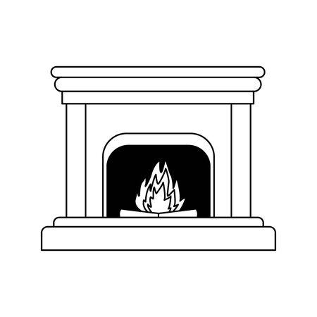 Schornstein mit Feuersymbol auf weißem Hintergrund, Vektorillustration Vektorgrafik