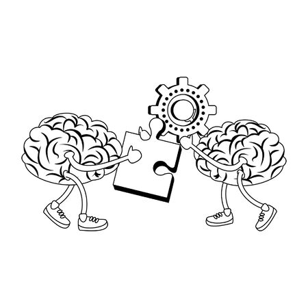 Brains holding puzzle and gears cartoons vector illustration graphic design