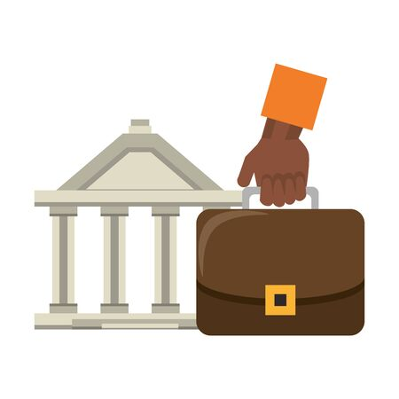 Bank building and hand with briefcase symbols vector illustration Illustration