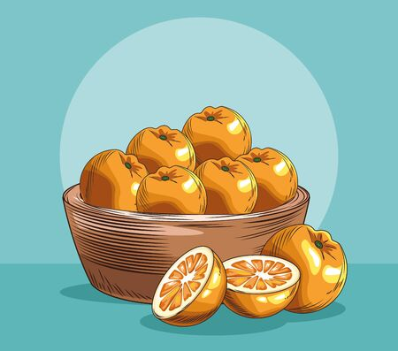 basket with oranges fresh fruit nutrition food healthy vector illustration Stock Illustratie