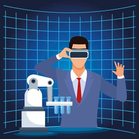 artificial intelligence technology man with vr glasses and test tubes vector illustration 向量圖像