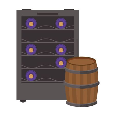 wooden barrel icon over white background, vector illustration Banque d'images - 139203154