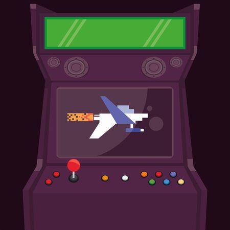 video game pixelated retro machine icon vector illustration design Vettoriali