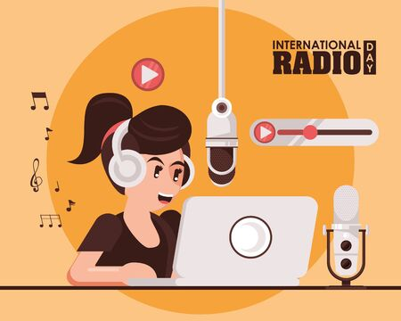 international radio day poster with female announcer vector illustration design