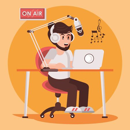 international radio day poster with male announcer vector illustration design Vector Illustration