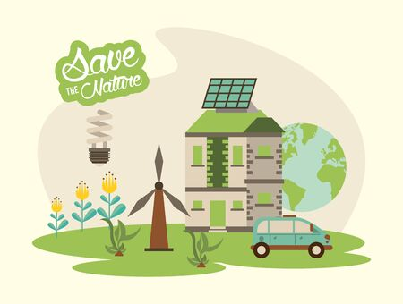 save the nature campaign with landscape scene vector illustration design Archivio Fotografico - 139204953