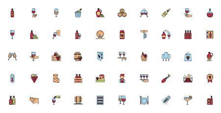 bundle of wine drink set icons vector illustration design