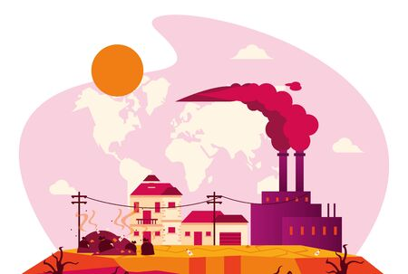 global warming alert with polluting factory vector illustration design