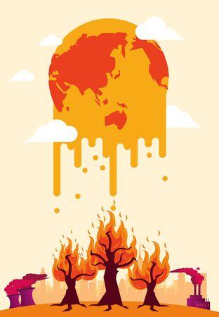 Alerta de calentamiento global con la fusión del planeta, diseño de ilustraciones vectoriales