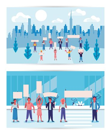 group of activist people protesting on the city vector illustration design vector illustration design