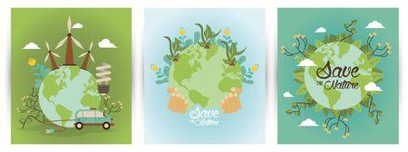 save the nature campaign with world planets vector illustration design Archivio Fotografico - 139215382