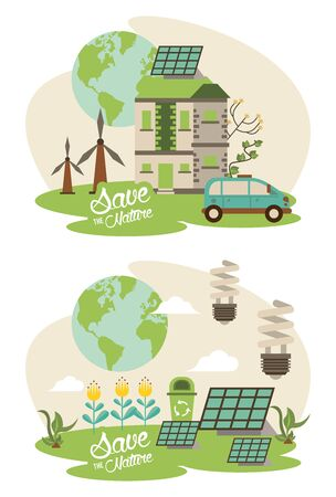 save the nature campaign with planet and landscapes scenes vector illustration design Archivio Fotografico - 139215386